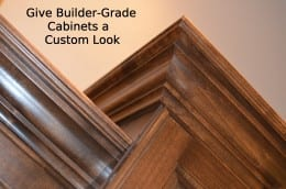 Give Builder-Grade Cabinets a Custom Look- super easy and cheap!