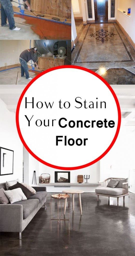 Concrete floor, staining a concrete floor, how to stain concrete, painting concrete, popular pin, simple home improvement, easy home improvement projects.