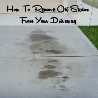 How to remove oil stains from a concrete driveway how to for Clean oil off concrete