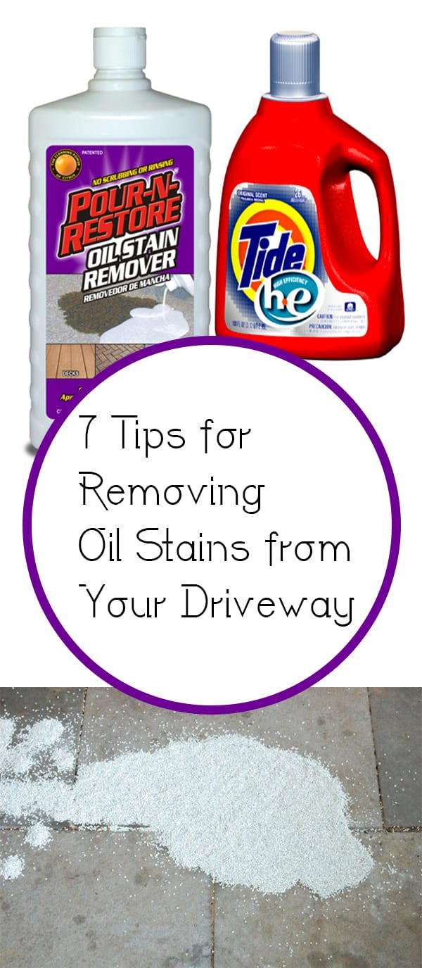 7 tips for removing oil stains from your driveway how to for Best way to remove oil from concrete