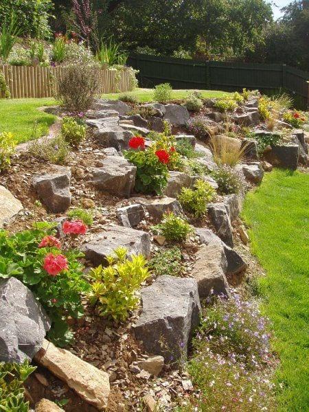 slope yard landscaping ideas
