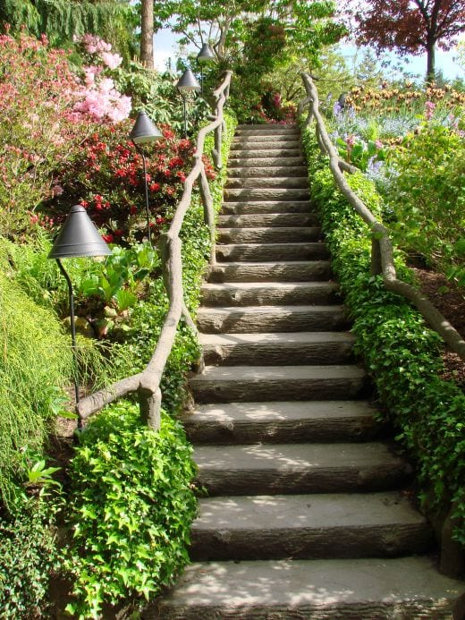stairs going up a sloped yard border by beautiful landscape
