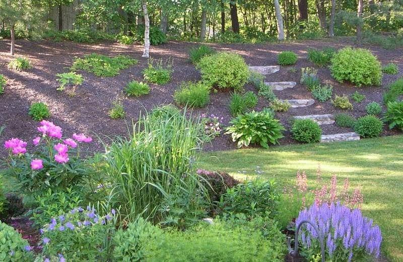 Flower garden on a sloped hill