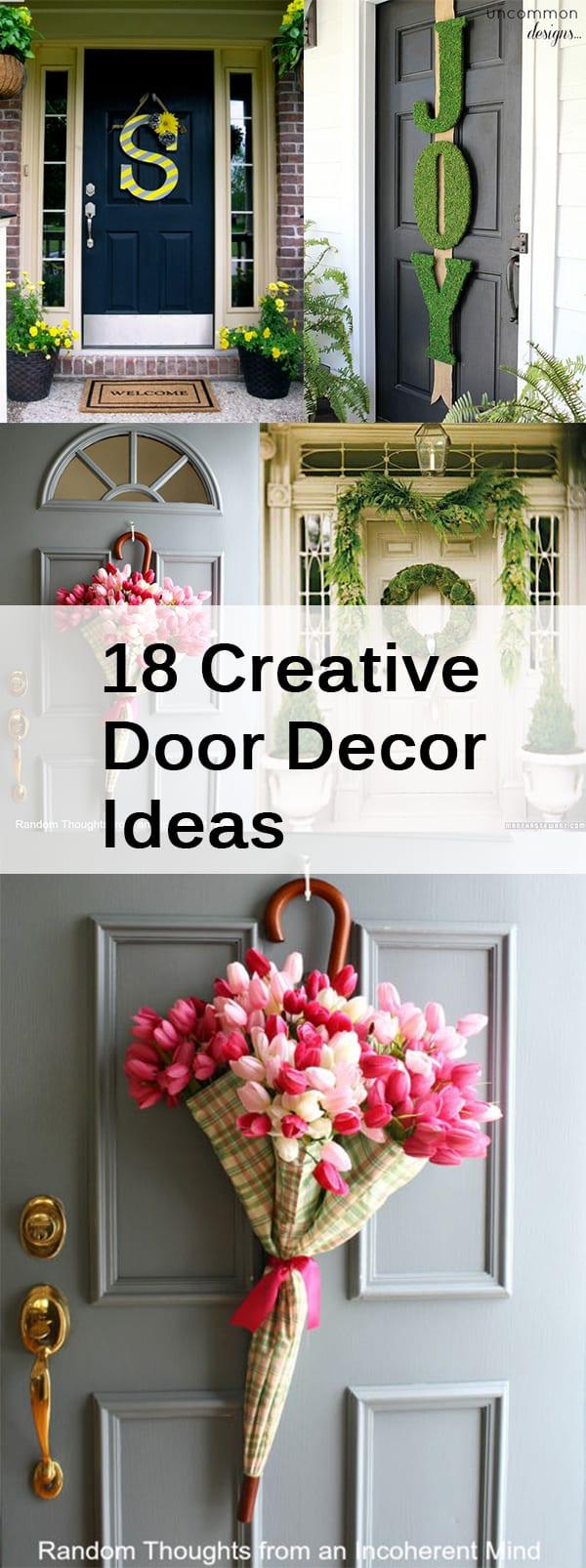 Creative door decor, porch decor, DIY home decor, popular pin, DIY porch decor, holiday porch decor, DIY wreaths, easy curb appeal projects. .