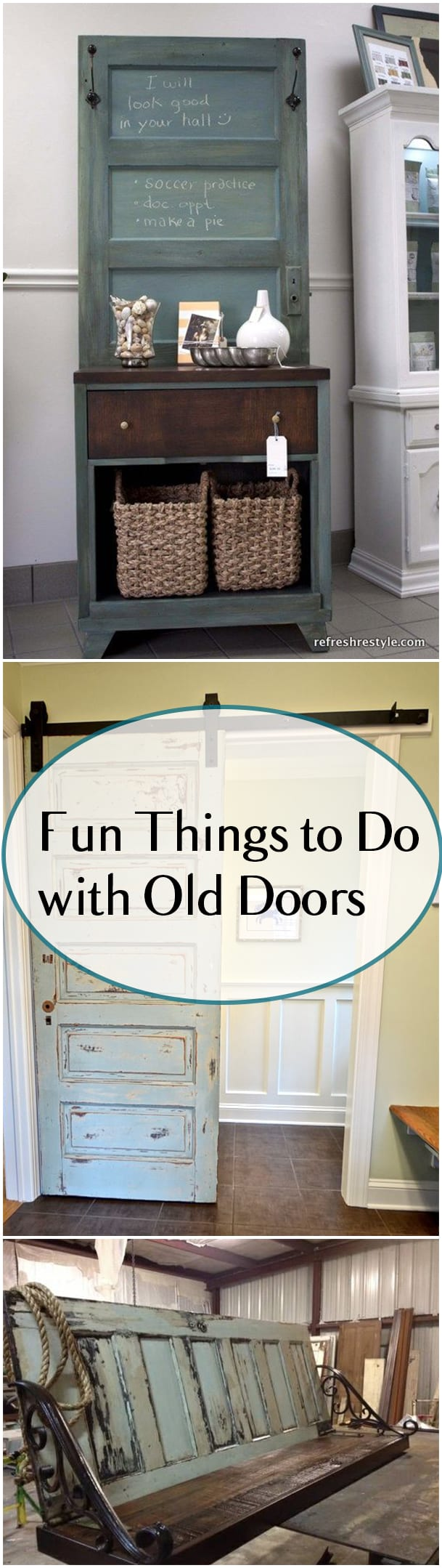 Things to do with old doors, DIY door projects, repurpose projects, popular pin, DIY home decor projects, DIY projects, DIY tutorials, home decor, interior design ideas