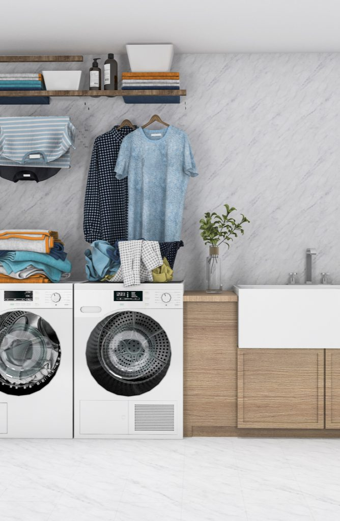 Ugh, the laundry room. It causes great sighs often in my home. Laundry is just one of those chores that is never fun. But if you can decorate a space and make it a fun one to be in, chores aren't really that bad after all right? Here are a few easy ways to spruce up a small laundry area.