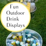 Outdoor drink display, outdoor drink display ideas, drink display, popular pin, party hacks, decorating for a party, summer party, outdoor entertainment, DIY outdoor entertainment