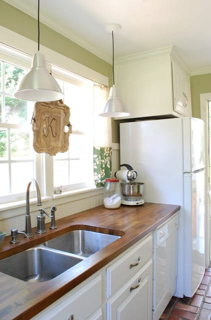butcher block counters in a kitchen-Easy DIY remodel projects