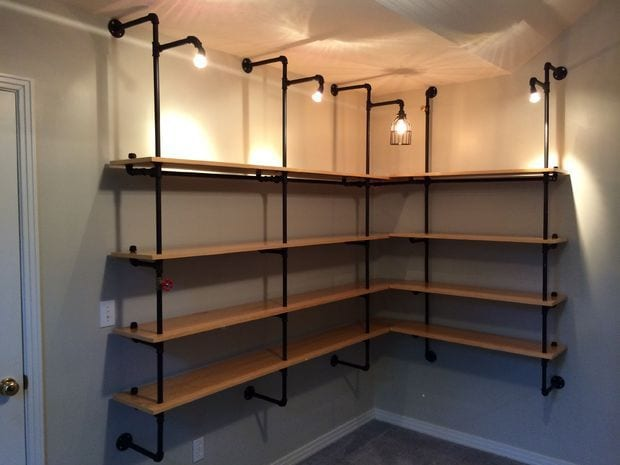 Custom industrial shelving made from pipe and wood-Easy DIY remodel projects