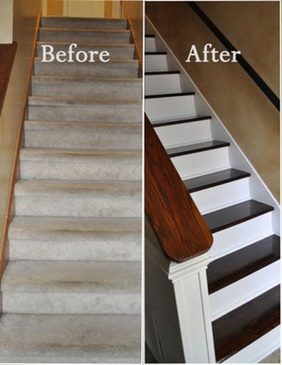 Easy DIY remodel projects-stairs before and after-removed carpet and painted riser and installed hardwood on treads