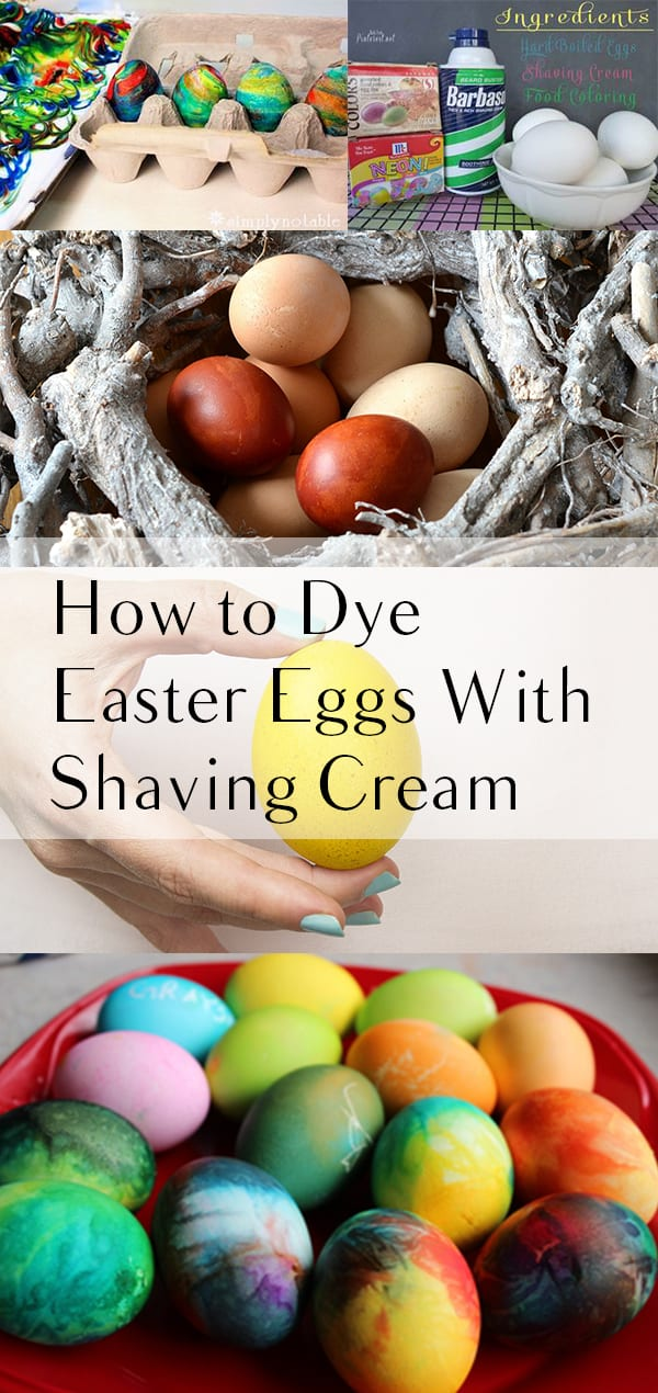 Start by squirting white shaving cream onto a cookie sheet and spreading it evenly. Drip different color food coloring onto the shaving cream. Take a straw a swirl the colors together to get a tie dye look. Roll an egg on one side into the colors and flip it over. Let it sit for 10 minutes and rinse clean!