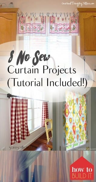 No Sew Window Treatments, Window Treatment Projects, No Sew Projects, No Sew Curtains, Curtain Projects, Homemade Window Treatments, Handmade Curtains, Popular Pin.