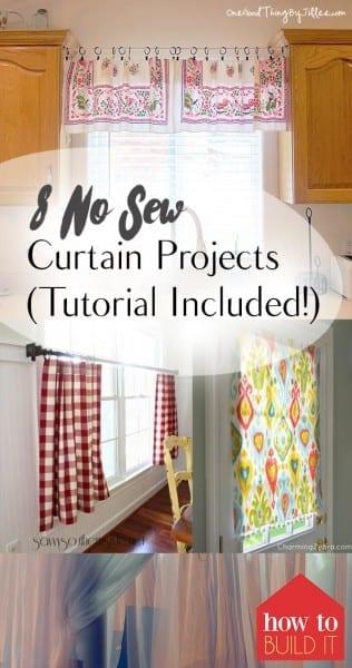 No Sew Window Treatments, Window Treatment Projects, No Sew Projects, No Sew Curtains, Curtain Projects, Homemade Window Treatments, Handmade Curtains, Popular Pin.