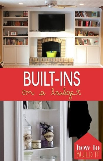 Built-Ins On a Budget  DIY Built Ins, Easy Built Ins, DIY Projects, DIY Home, DIY Home Projects, Home Decor, Home Decor DIYs, Build Your Own Built Ins #DIYHome #HomeProjects #HomeImprovement