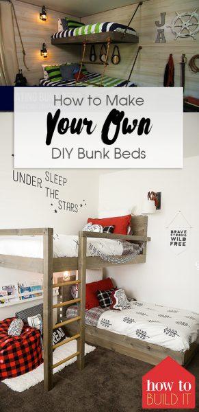 How to Make Your Own DIY Bunk Beds  DIY Bunk Beds, Bunk Beds, Homemade Bunk Beds, DIY Bed, DIY Home Improvements, Home Improvement Hacks, Popular Pin #DIYBunkBeds #BunkBeds