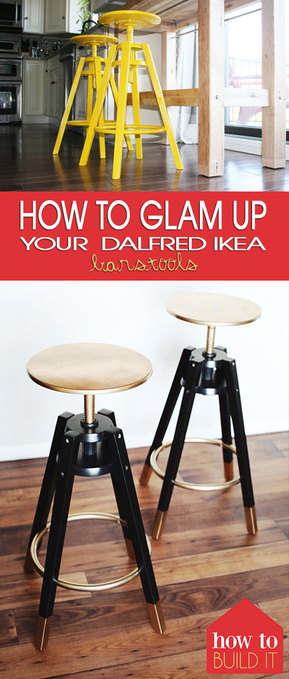 """How to """"Glam"""" Up Your Dalfred IKEA Barstools