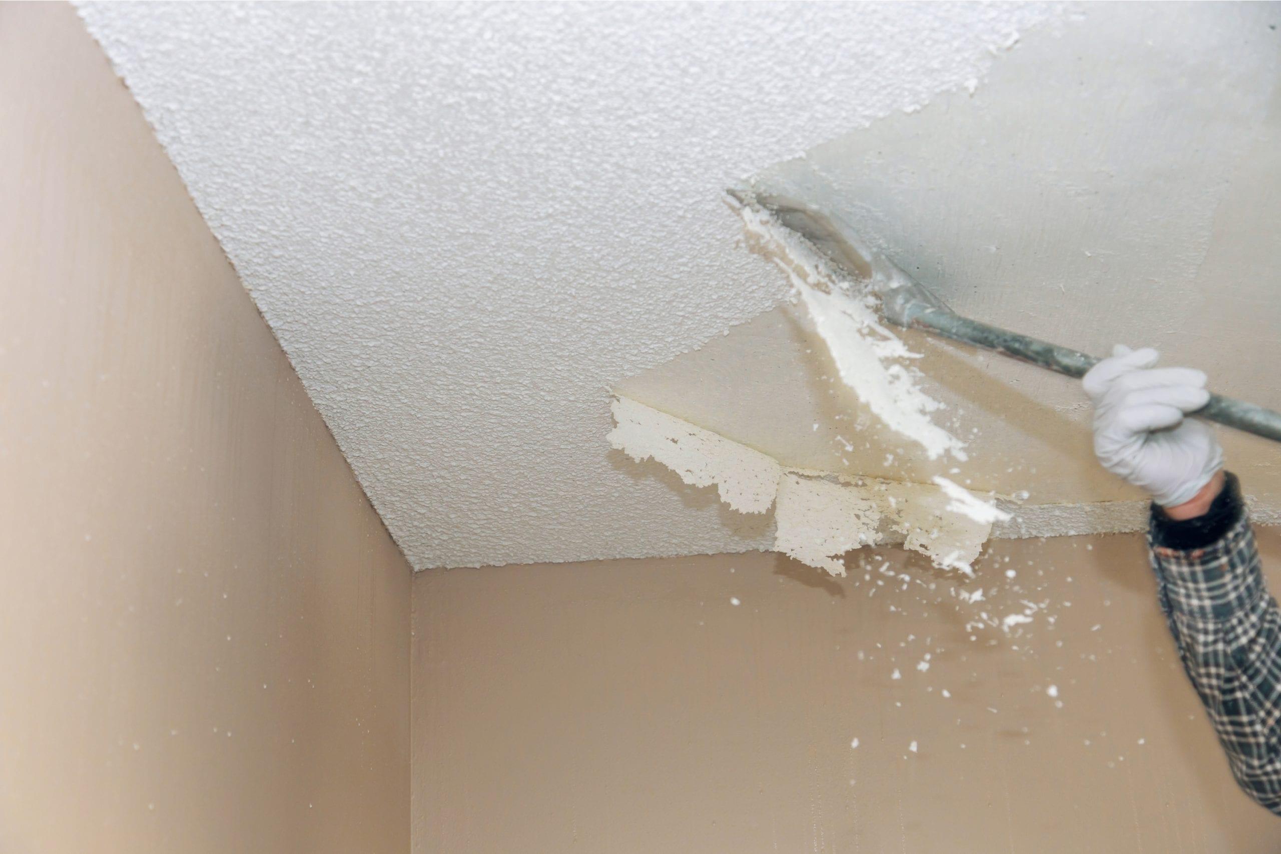 Scraping popcorn ceiling-DIY home repair hacks