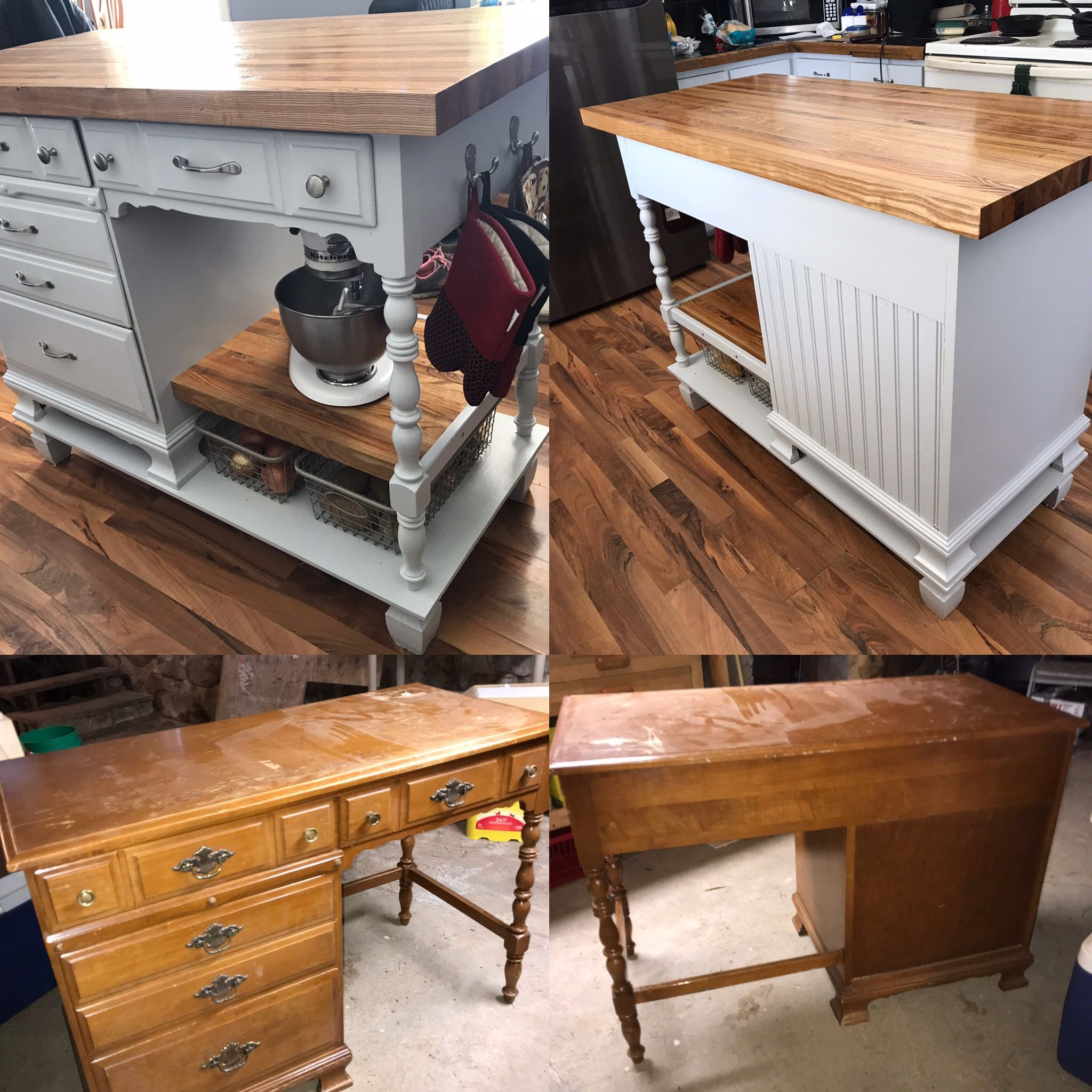 desk | kitchen island | island | diy kitchen island | kitchen island ideas | diy | diy island | kitchen island made from desks | repurpose