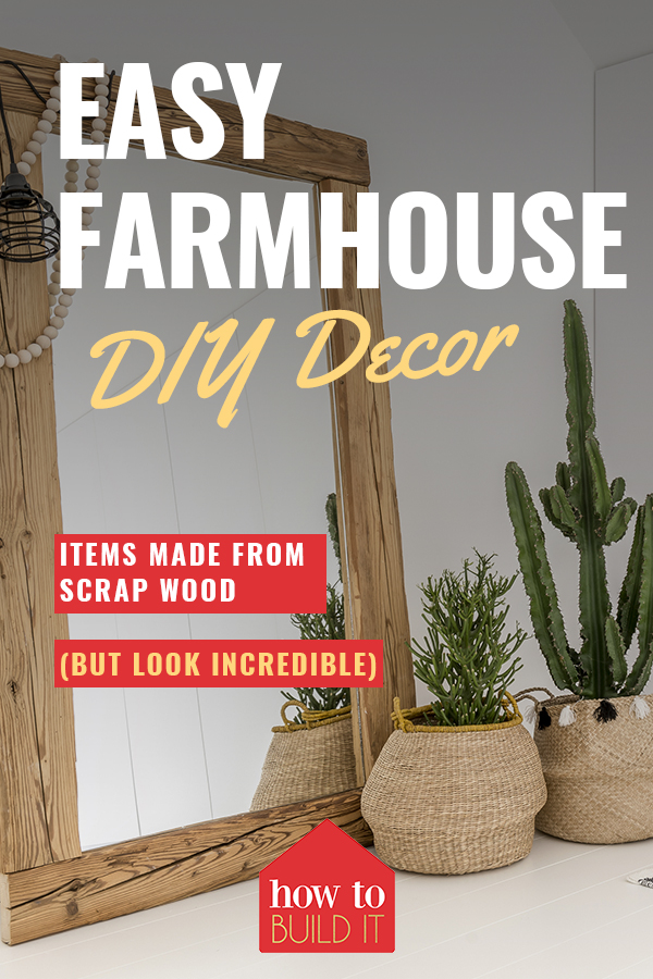 DIY Farmhouse Decor Rustic mirror made with scraps. Simple yet stunning #DIYDECOR