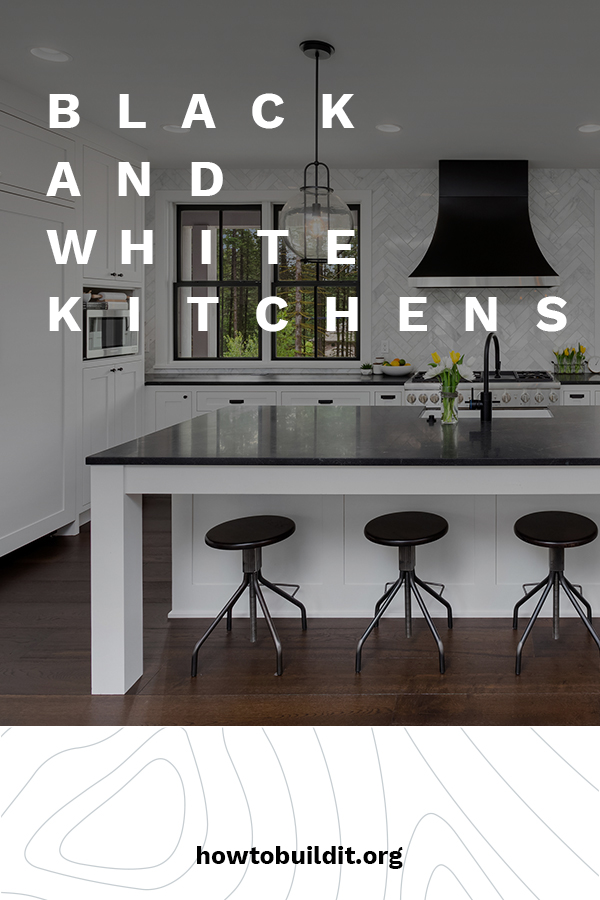 They say that opposites attract and there is no doubting that when it comes to black and white kitchens. They simply bring out the best in each other. If you like a stark white cabinets, black granite makes a wonderful choice in countertops. Not only is it very eye appealing, the black creates some warmth. If you are interested in the black and white look in your kitchen, keep reading for more ideas. #blackandwhitekitchens #kitchendesigntrends #kitchenideas