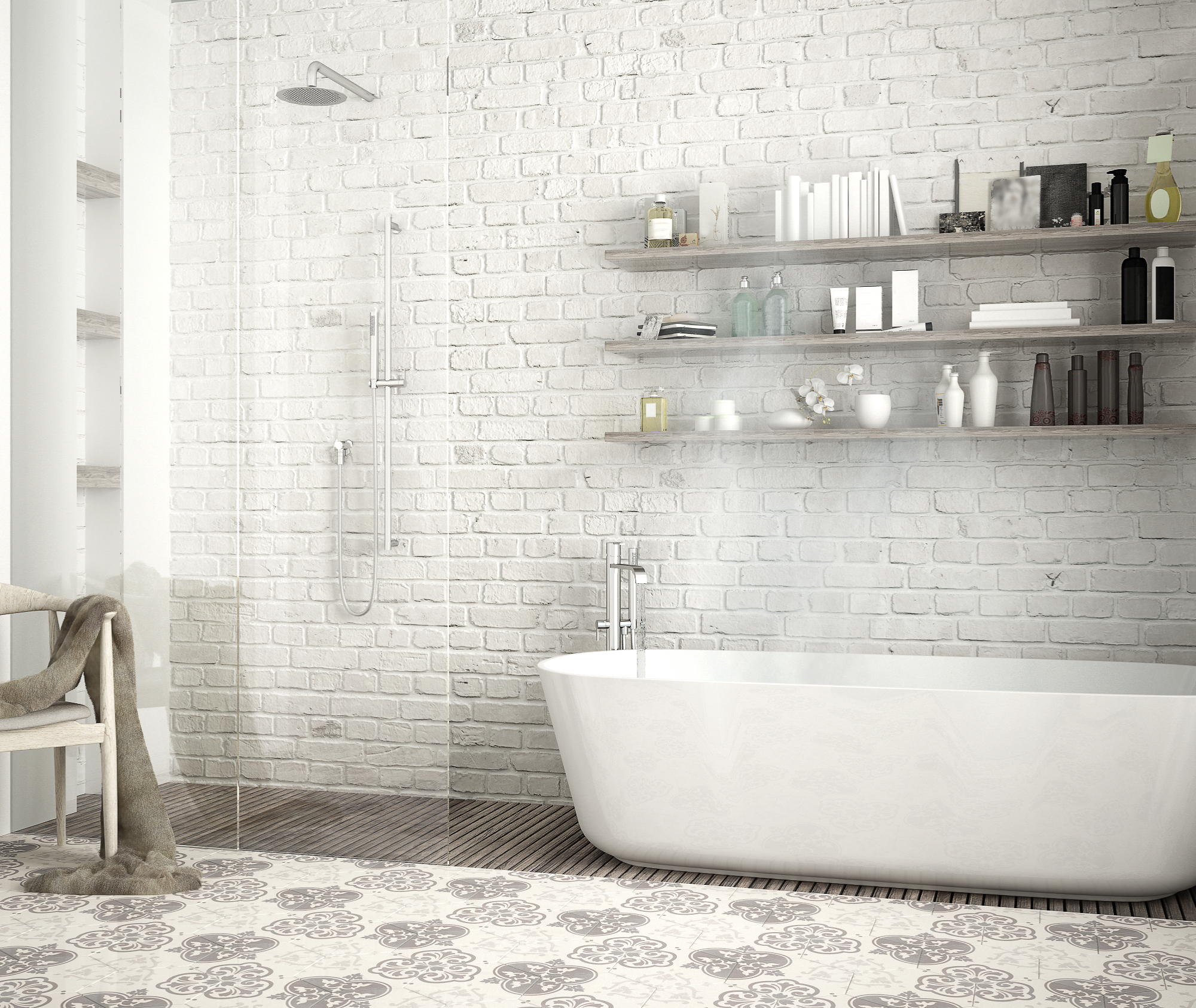 So you're trying to up the way your bathroom looks? Do you have an existing brick wall? Whitewash the brick for this fun, edgy look. For more vintage bathroom tile ideas (and brick), look here!