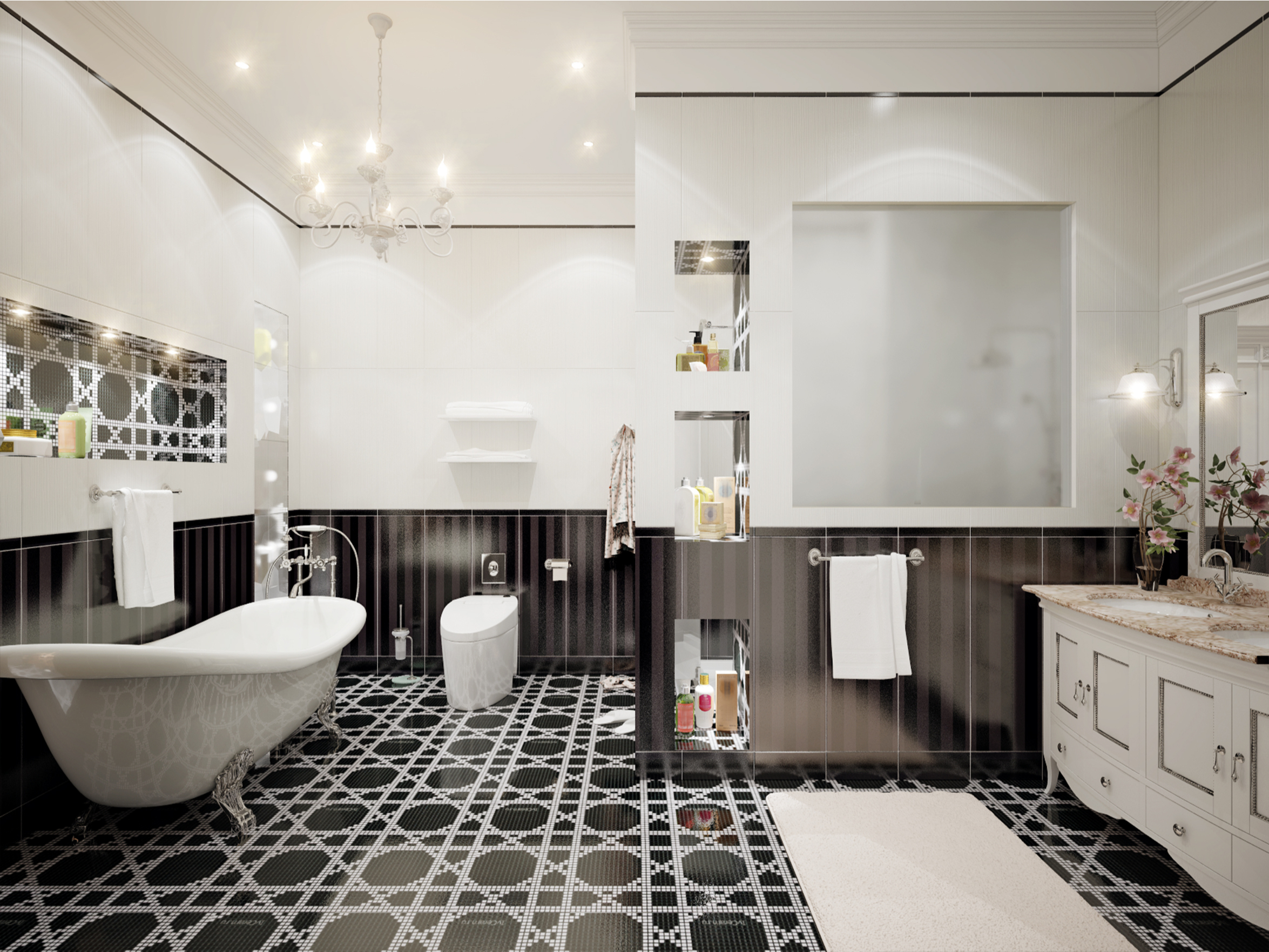 Black and white anything will always be timeless! Why not design your bathroom to be a classic, vintage black and white look? These vintage bathroom tile ideas are amazing! Don't miss out.