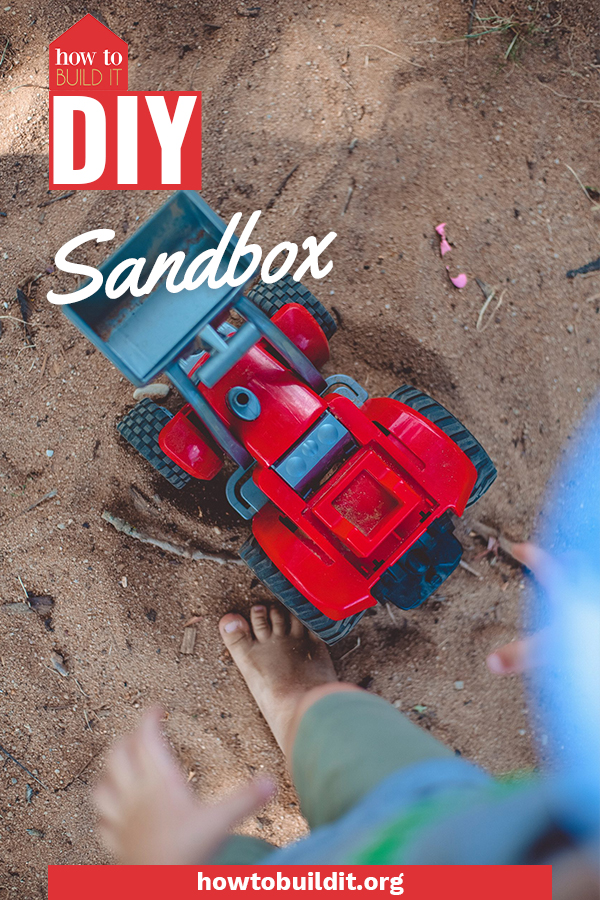 My kids went absolutely nuts when I made this DIY sandbox for them last Summer. Soon, all of the neighborhood kids came over to play! Use these free plans to make one for yourself in only a few easy steps. #diy #outdoors #howtobuilditblog