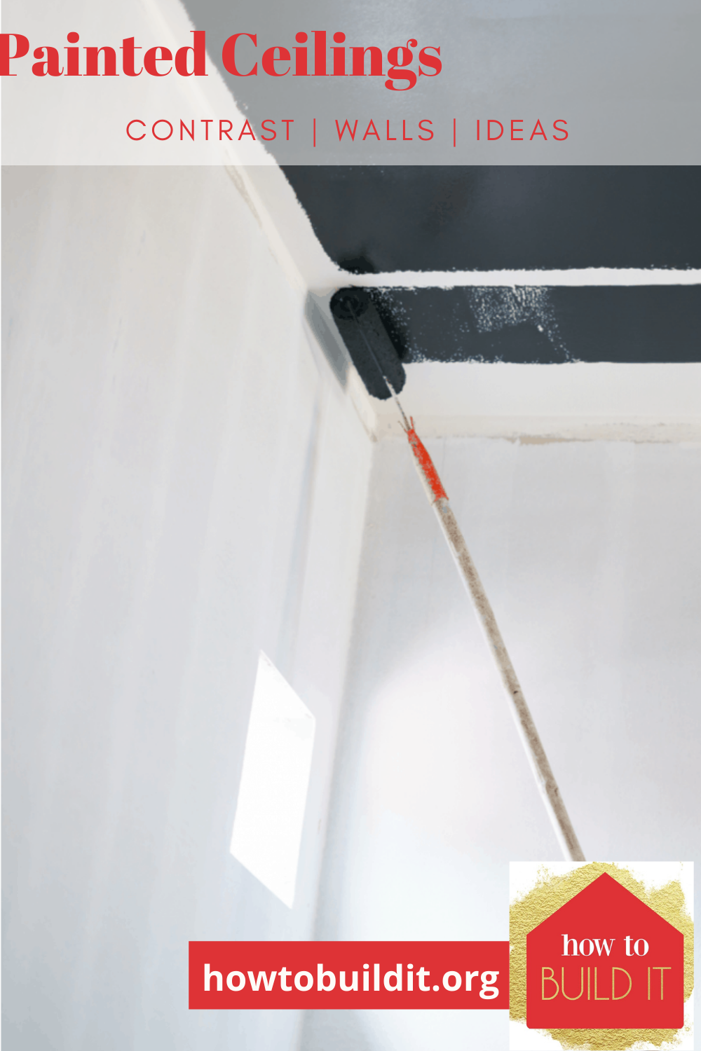 A hot trend in home decor this Summer, more and more homeowners are electing to paint their ceilings dark to create a little drama at home. What do you think of this look? #paintedceilings #home #howtobuilditblog