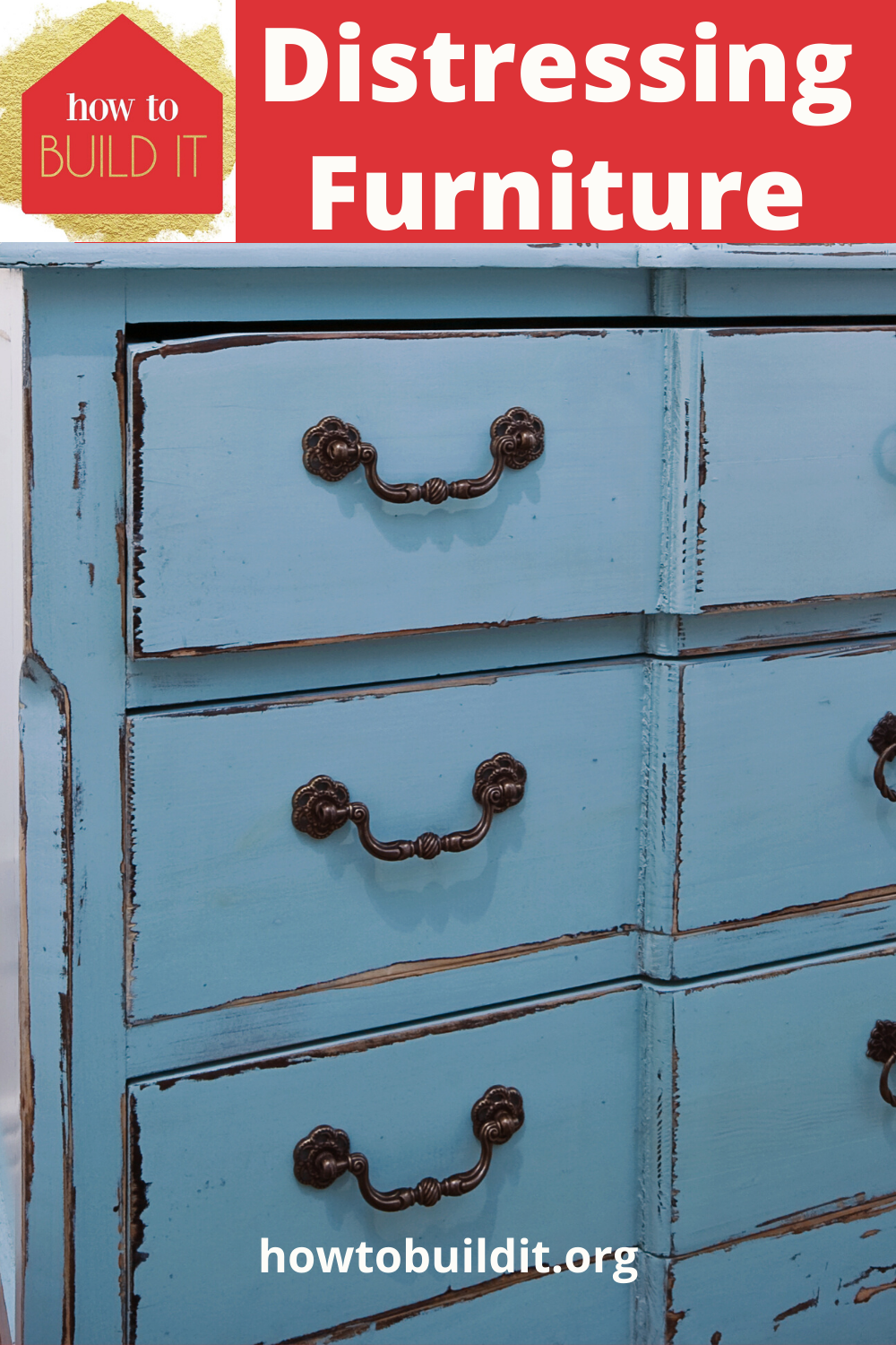 Old furniture is my favorite. I love adding my own flair with paint or stain and distressing it. The process is an easy DIY and cheap. Read the post to learn about 8 distressing furniture tips you could try today. #distressingfurniture #DIYupgrades #DIYmakeover #howtobuilditblog