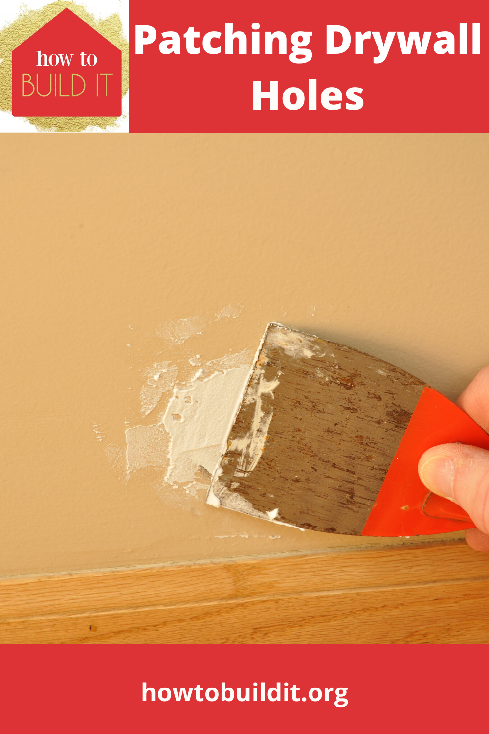 Have you been wanting to patch the drywall holes where the kids missed the soccer ball and kicked a small hole in the wall? I bet you have but have been resistant because you were'nt sure how to do it. No worries. Our simple guide to patching drywall will solve that. #stepbysteppatchingdrywall #homerepairs #howtopatchdrywall #howtobuilditblog