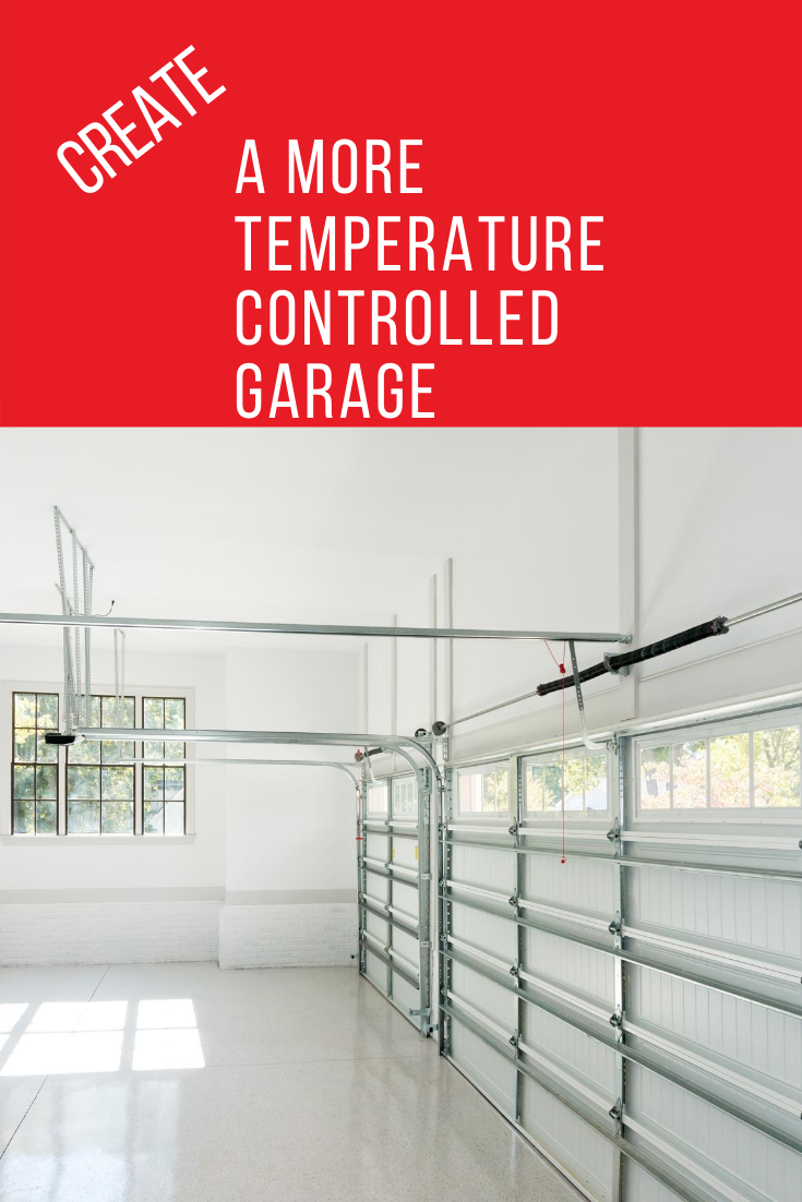 Keep your garage cooler in the summer and warmer in the winter with these tips for creating a more temperature controlled garage. #howtobuilditblog #insulategarage #weatherproofgarage