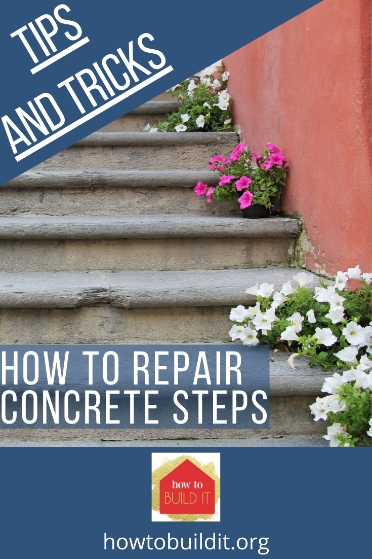 Nothing screams fixer upper like front porch steps that have cracked and chipped. They are freakin' ugly. Not to mention they become dangerous as well. Don't replace all the steps, just repair them with our step by step guide to repair concrete steps. Super easy! #repairconcretesteps #DIYhomeimprovement #easydiyprojects #howtobuilditblog