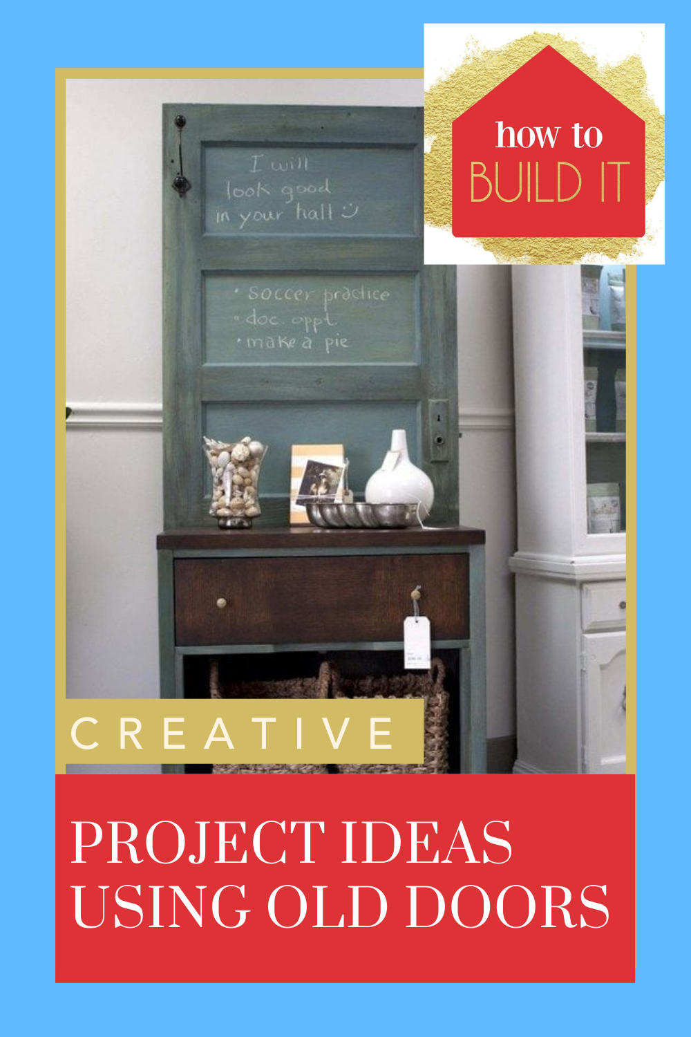 Howtobuildit.org has the best in DIY and home improvement projects! Find ways you can get busy and make something yourself. These old door upcycling projects are a great way to get started.